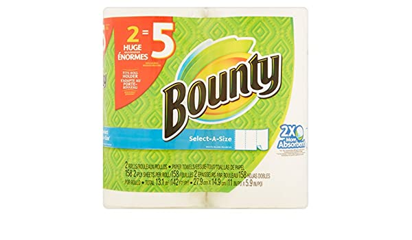 Amazon.com: Bounty Select-A Size Paper Towels Huge Rolls, 158 Sheets, 2 Rolls (1): Health & Personal Care