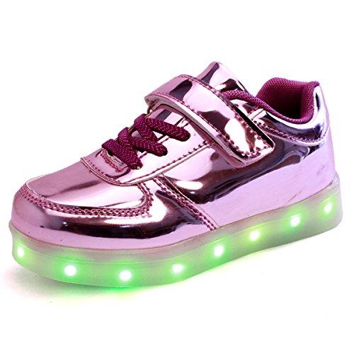 DoGeek Boys Girls Light up Trainers Big Kids Unisex 7 Colors Silver Led Lights Up Shoes (Choose Half Size Up) (12 Child UK, Purple)