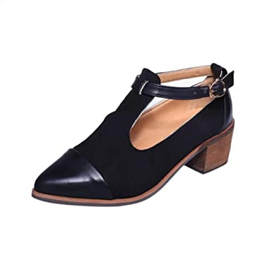 f36c900e5d1c8 Alonea Fashion Vintage Women Pointed Toe Cut Heel Patchwork Buckle High Heels  Wedge Shoes (4.5