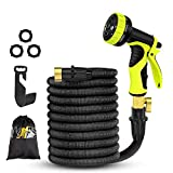 Expandable Garden Hose,50FT Water Hose-Latex Core,Extra Strength Textile,Solid Brass Fittings no Rust&Leak -9 Function Spray Nozzle,Hose Hanger-Best Flexible Expanding Hose for Watering Car