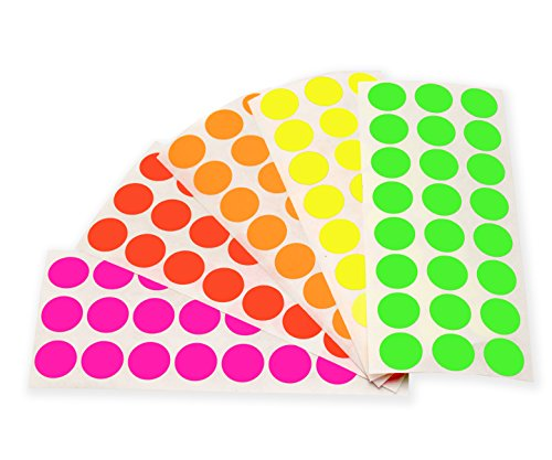 (ChromaLabel 1/2 Inch Round Color-Coding Labels on Sheets | 5 Assorted Colors | 1,200/Variety Pack (Fluorescent))