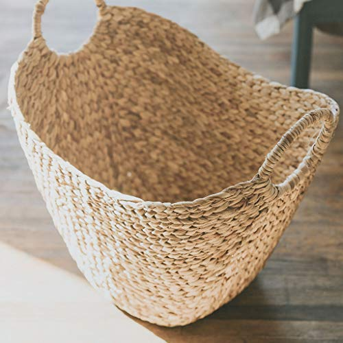 Seagrass Storage Basket by West Dwelling - Large Water Hyacinth Wicker Basket / Rattan Woven