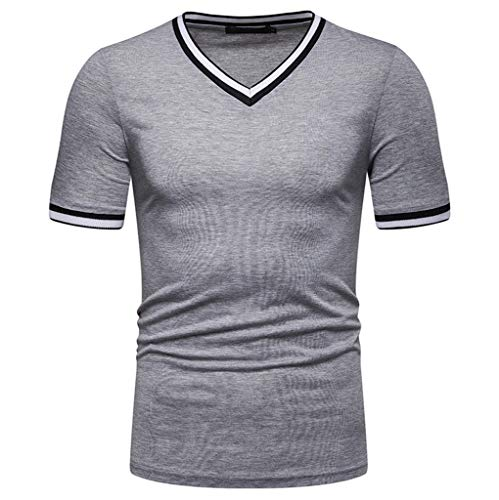 (Wkgre Mens Summer Striped T-Shirt Solid V-Neck Casual Classic Refined Leaf Fit Short Sleeve Tops Shirts Blouse (XL, Gray))