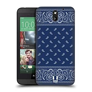 Head Case Designs Square Blue Classic Paisley Bandana Protective Snap-on Hard Back Case Cover for HTC Desire 610
