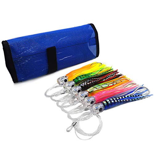 kmucutie 6.5inch 6pieces Rigged Trolling Lure Marlin Tuna Mahi Dolphin Durado Wahoo Octopus Skirted Fishing Lure