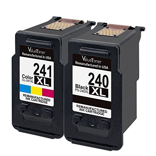 Valuetoner Remanufactured Ink Cartridge Replacement for Canon PG-240XL CL-241XL High Yield 5206B005 5206B001 5208B001 (1 Black, 1 Color)2 Pack for Canon Pixma MG3620 MX432 MX532 MG3520 MX452 MX512 - Empty Color Inkjet