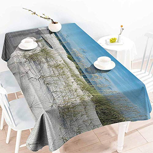 familytaste Outdoor Tablecloth,Seaside Decor Collection,Rustic Beach Pathway Heads to The Water in Florida Santa Rosa Island Summer Travel Photo,Blue Light 70