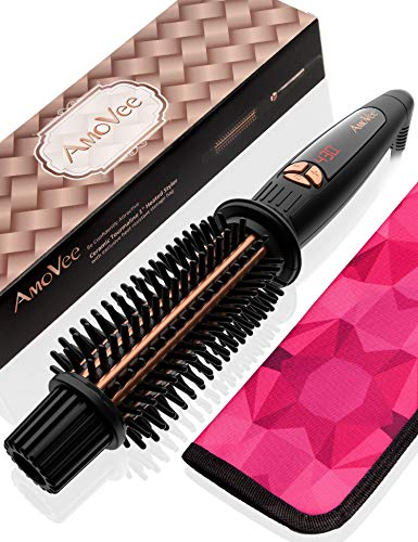 AmoVee Curling Iron Brush Ceramic Tourmaline Ionic Hair Curling Wand Volumizing Hot Brush with 1 Inch Barrel & Anti-Scald Bristles for All Hair Types, Dual Voltage, Instant Heat