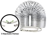 """8"""" x 25' HVAC Flex Duct Non-Insulated Venting Hose with 2 Worm Gear Clamps for Grow Room and Greenhouses"""
