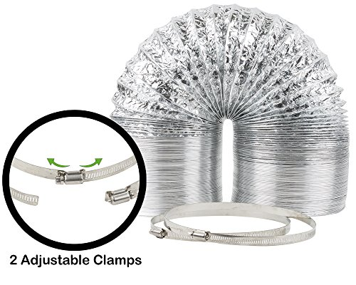 "- 8"" x 25' HVAC Flex Duct Non-Insulated Venting Hose with 2 Worm Gear Clamps for Grow Room and Greenhouses"