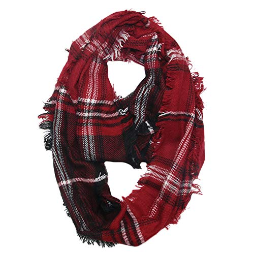 Swarovski Cotton Cap (G-real Women's Fall Winter Scarf Classic Tassel Plaid Scarf Warm Soft Chunky Large Blanket Wrap Shawl Scarves)