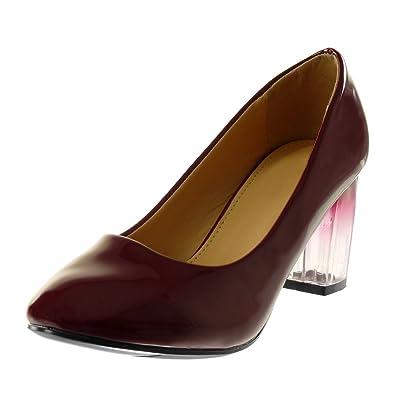 f67e68d8d504f5 Angkorly - Chaussure Mode Escarpin Slip-on Decolleté Femme Verni  Transparent dégradé de Couleur Talon