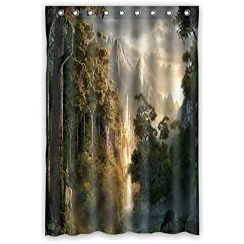 Aloundi Shower Curtain, Custom Lord of The Rings Landscape Waterproof Polyester Fabric Bathroom s