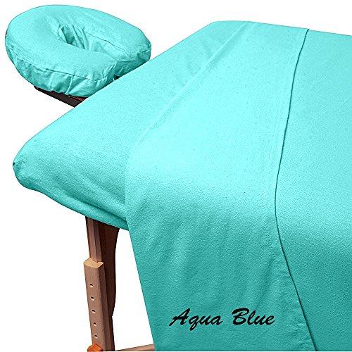 Fantasy Collection Massage Table Sheets Premium Egyptian Cotton 3-Piece Luxury Spa Sheet Set Solid Pattern 400 Thread Count (Massage Table Sheets 3 Pc Set, Aqua Blue) - Aqua Massage Table