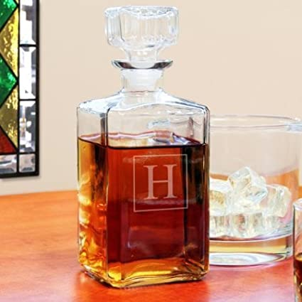 aca7e89b873c Personalized Glass Whiskey Decanter Gift with Engraved Single Monogram  Initial Letter