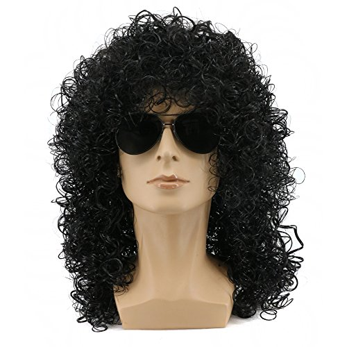 Yuehong Men's Rocker Cosplay Long Curly Black Wig (Best Mens 80's Costume)