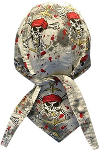 Danbanna Deluxe Grey Black Red Pirates Warning Skull Anchor Bandana Headwrap Headscarf Adjustable Cap Hat with Terry Cloth Sweatband By Capsmith (Deluxe Cap Skull)