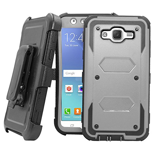 Galaxy J7 Neo J701M /J7 Nxt J701F /J7 Core J701 Case, Telegaming Hybrid Rugged Heavy Duty Shock Absorption Case With Belt Swivel Clip Kickstand Holster For Samsung Galaxy J7 Neo / J7 Core Duos Gray
