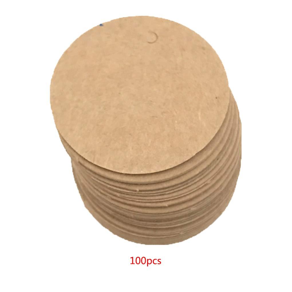 Fangfeen 100pcs Party Favor Ronde Remarques Carte-Cadeau Couleur Unie dimpression d/étiquettes en Papier Kraft Blank /étiquettes Volantes