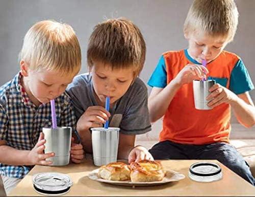 BPA-frei vakuumisoliert doppelwandig 2 St/ück Kinderbecher f/ür Jungen und M/ädchen Smoothie-Trinkbecher f/ür Kinder Kinderbecher aus Edelstahl mit Deckel und Strohhalmen f/ür Kleinkinder