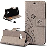 HTC One M9 Case,HTC One M9 Wallet Case,NSSTAR Butterfly Flower Flip PU Leather Fold Wallet Pouch Case Premium Leather Wallet Flip Stand Credit Card ID Holders Case Cover for HTC One M9,Gray
