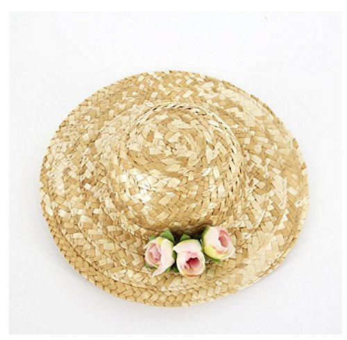 Stock Show 1Pc Handcrafted Pet Straw Hat with Adjustable Chin Strap and Silk Flower/Rainbow Rope Decor, Lovely Sun Hat Funny Costume for Dog/Puppy/Cat/Kitty, Small Flower