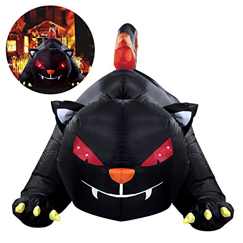 Cat Inflatable Halloween (YUNLIGHTS 6X4 Foot Halloween Inflatable for Halloween Big Black Cat with LED lights Indoor and Outdoor)