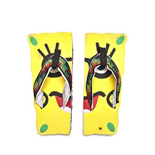 Churinga Handmade Flip-Flops Beach wear Face Style Slippers Rubber Slippers Yellow Size L Pair ()