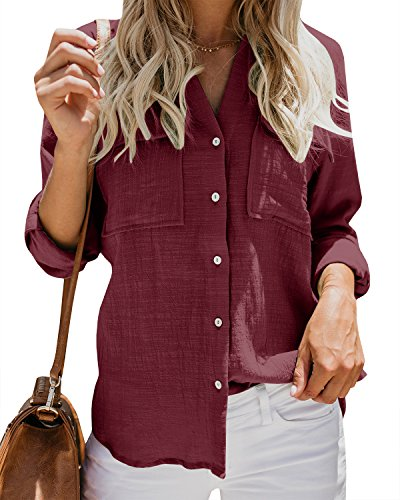 Womens Casual Tops V Neck Button Up Shirts Linen Cuffed Sleeve Collared Slit Blouse Burgundy