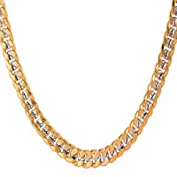 "U7 Unisex 2-Tone Jewelry 6mm-9mm Wide Platinum & 18K Gold Plated Cuban Chain Necklace 18"" 22"" 26"" 28"""
