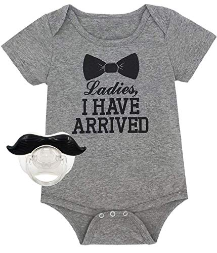 Baby Boys' Funny Gentleman Bodysuit with Bib (Gray02, 3-6 -