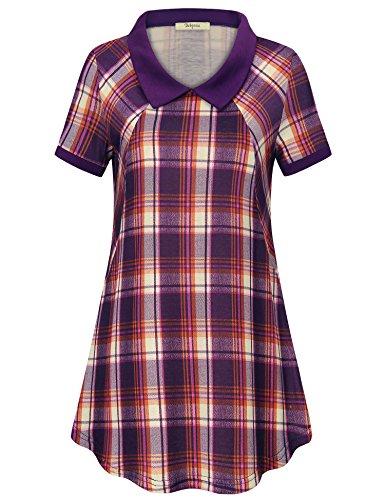 Bebonnie Work Blouses for Women, Contrast Peter Pan Collar Tartan Shirts Plaid Flowy Tunic Tops Purple X-Large
