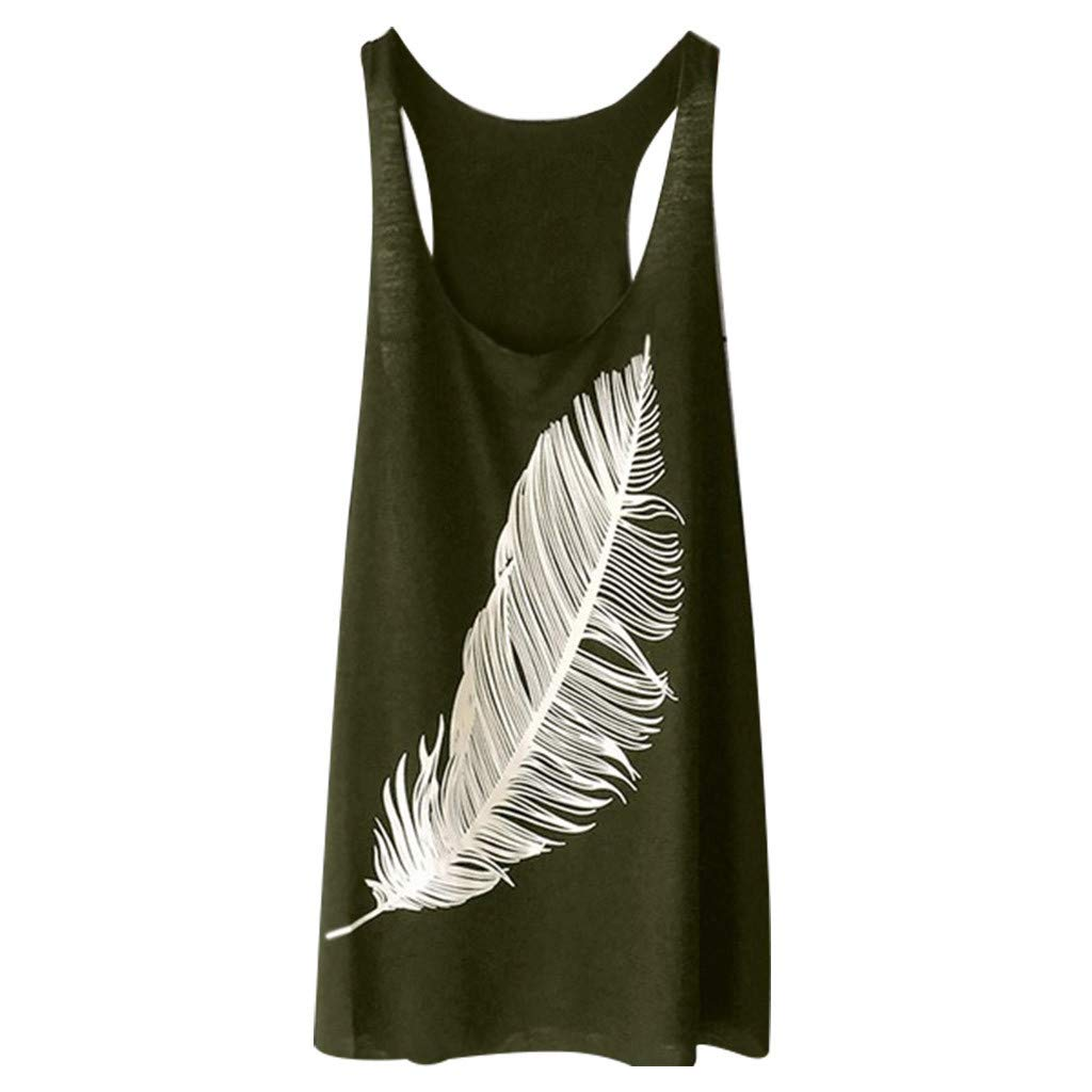 BB67 Women Casual Tops, V-Neck Sleeveless Feather Print Vest Tank Tops Blouse Army Green