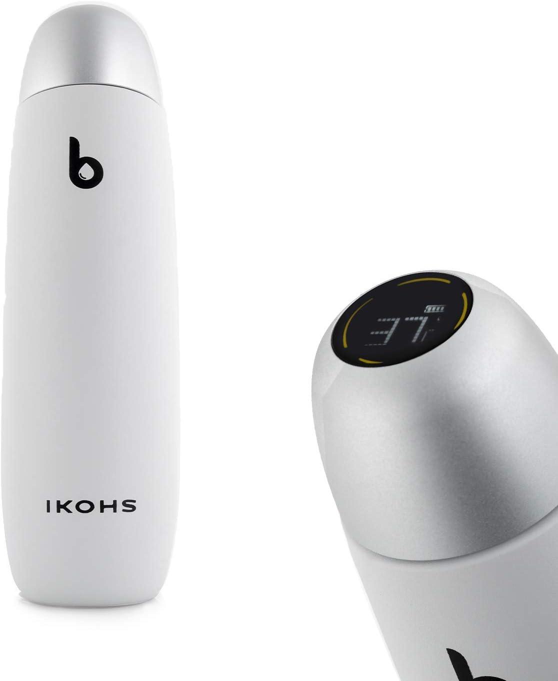 IKOHS B-Life Smart - Botella Termo Inteligente Portátil, Taza de Viaje, Térmica de Doble Capa de Acero Inoxidable, Pantalla Inteligente con Temperatura, Botella de Agua Sin BPA (Blanco)