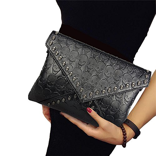 Clutch Purses for Women Gothic Skull Envelope Clutch Wallet with Two Straps (Black) ()