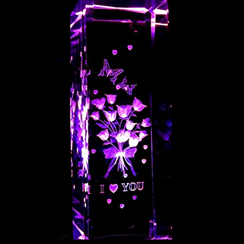 6 Inch Height - Roses I Love You 3D Laser Etched Crystal + Display Light Base ()
