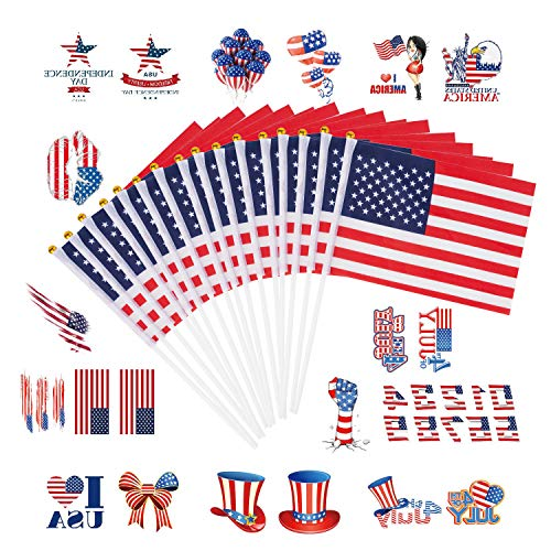 LaRibbons 50 Pcs American Stick Flag with 10 Pcs Tattoo Sticker - Party Decorations for 4th of July,Sports Clubs,Festival Events Celebration ()
