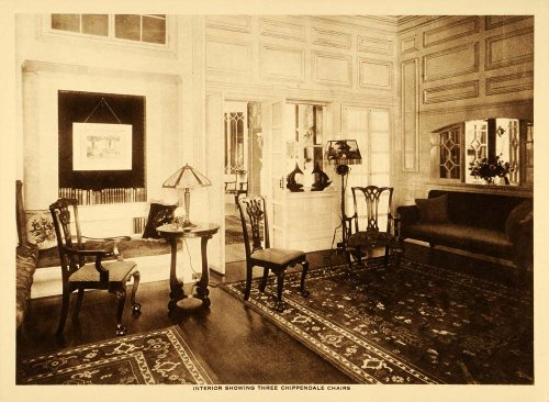 Thomas Chippendale Chair Furniture Room Parlor Set Interior - Original Intaglio Print (Reverse Intaglio)