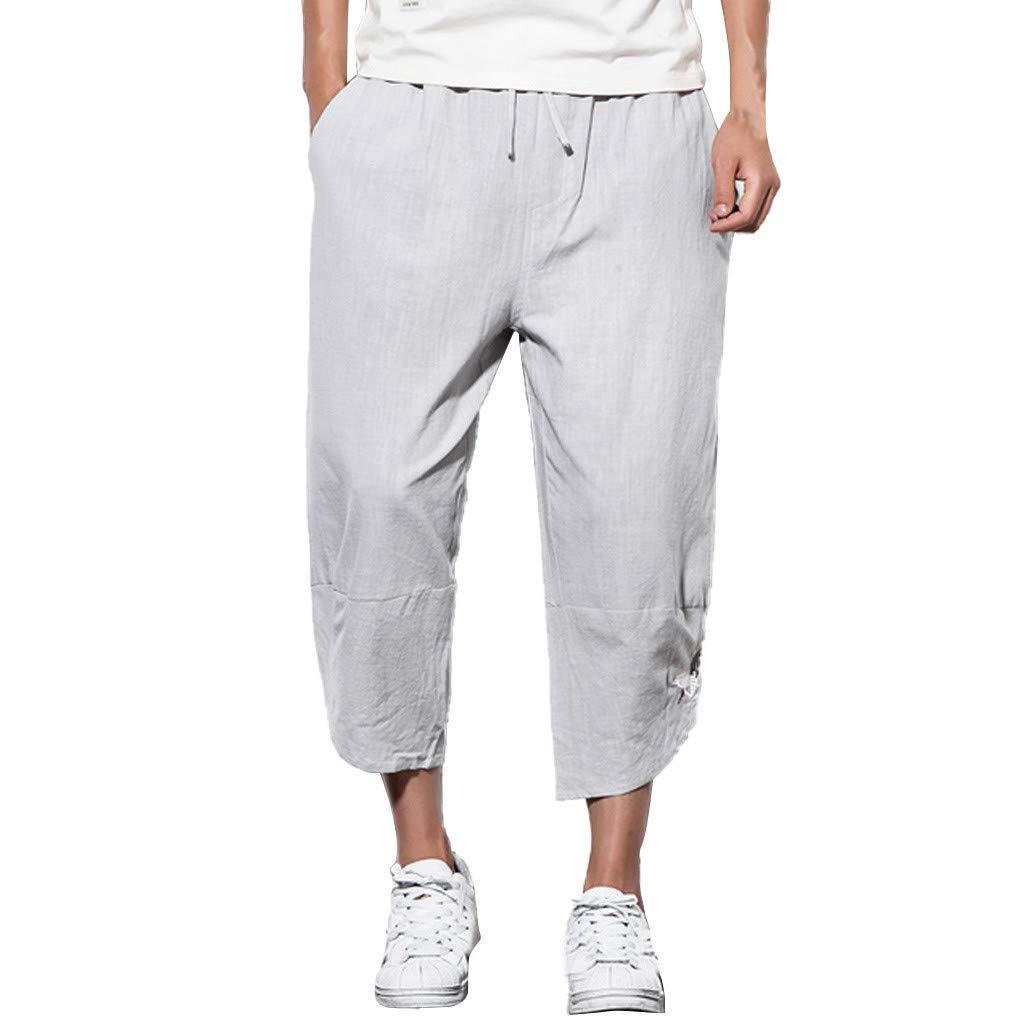 Sunyastor Mens Baggy Casual Trousers Cotton Linen Loose Harlan Pants Elastic Waist Wide Leg Pants Summer Fashion Pants Gray