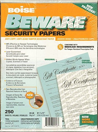 Boise Beware Security Papers 250 sheets Anti-Copy/Anti-Scan/Tamper Resistant 24 LB. - Outlets Boise