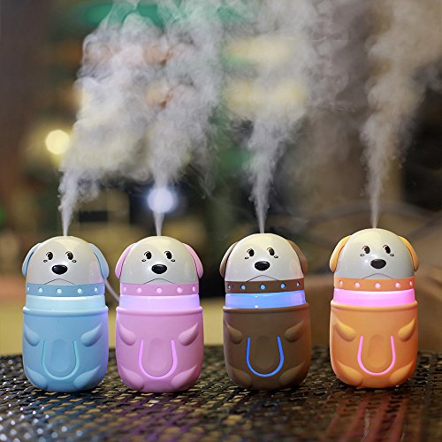 Fly Array USB Humidifier Dog Shape Humidifier Night Light for Students Dormitory Home Room Office Desktop Silent Car Humidifier Creative Gifts (pink brown yellow blue) Pink by Fly Array (Image #2)