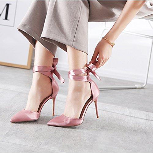 Tacchi Strap Borse Pink 8cm Fang Size Sandali Alti Electronic Chi 39 Silk 10cm color Cavi Ragazza Sposa Scarpe Business Pointed Donna Con Da Cheng PHqwn8Hz