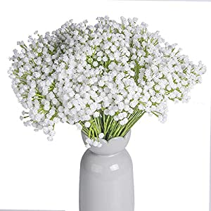 YSBER 2 Pack 14 Forks Artificial Baby Breath, 15.7″ Tall Gypsophila Artificial Fake Silk Plants, Real Touch Flowers DIY Home Garden for Wedding Party Decoration, Idea Present for Mother's Day