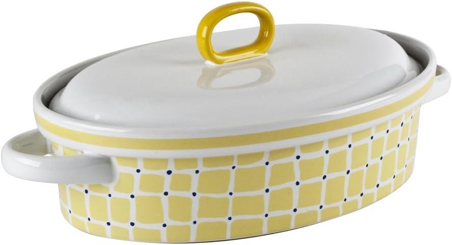 Yellow Kris Ruff 33385 Square /& Dots Oval Casserole