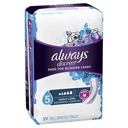 - Always Discreet, Incontinence Pads for Women, Maximum, Long Length, 39 Count (Packaging May vary)