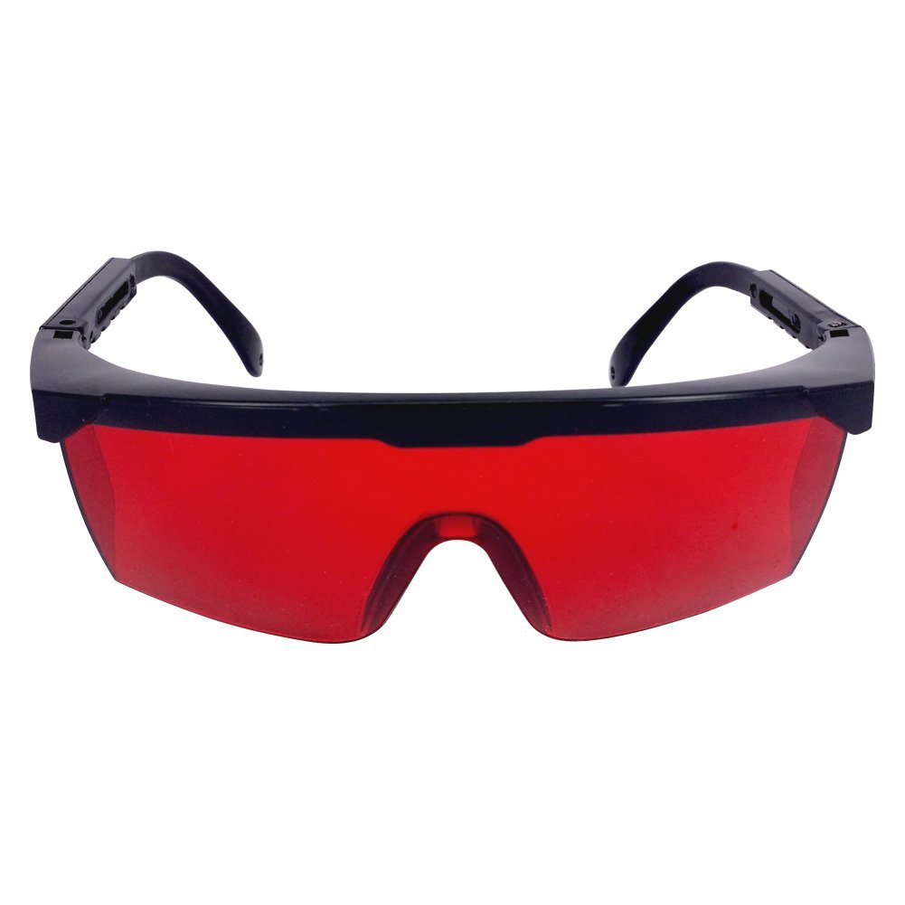 Laser Safety Glasses Eye Protection for Blocking UV Ray Red Green Blue Lasers Exposure, Red Tinted Lens Laser Goggles with Adjustable Temple and Hard Protective Case for Industrial Military Medical