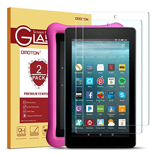 [2-Pack] OMOTON Screen Protector for All-New Fire 7 / Fire 7 Kids Edition Tablet (2017 Release) - Tempered Glass/High Definition / 9H Hardness