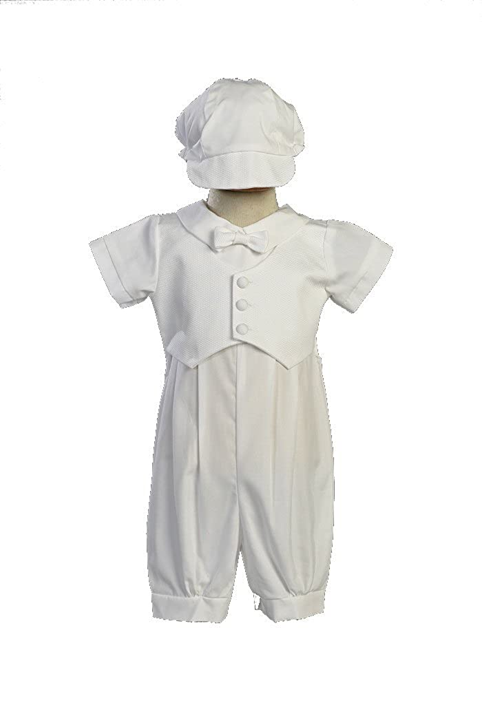 Boy's Poly Cotton Christening Baptism Romper with Pique Vest