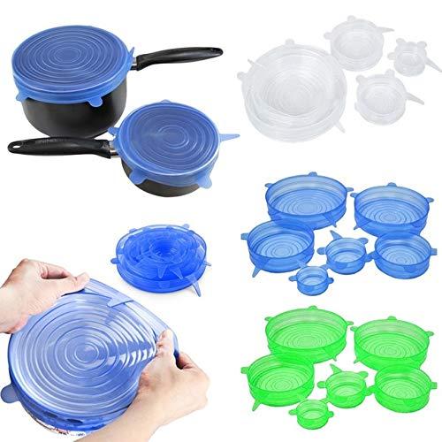 Universal Food Hopper - Fiesta 6PCS/Set Silicone pots pan lids Bowl Cup Cover Stretch Suction Kitchen Cooking Food Hopper Home Stopper Universal Cookware Parts: Plum