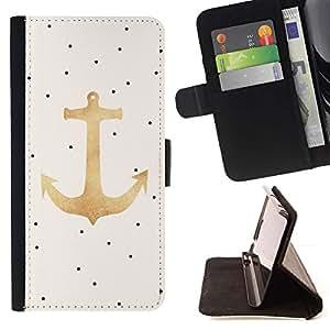 For LG G4 Stylus / G Stylo / LS770 H635 H630D H631 MS631 H635 H540 H630D H542 Case , Dot ancla del oro Barco Mar Verano- la tarjeta de Crédito Slots PU Funda de cuero Monedero caso cubierta de piel
